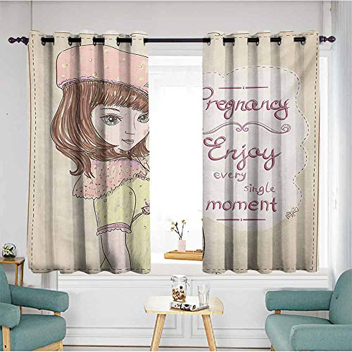 AndyTours Grommet Window Curtains,Quotes Pregnancy Enjoy Every Single Moment Clipart Pregnant Woman Dress Hat,Energy Efficient, Room Darkening,W72x72L,Eggshell Pink Multicolor