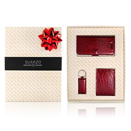 SURAZO Cayme - Leder Geschenkset Handy Schutzhülle, Card Holder, Schlüsselring - Farbe Rot Vintage Kollektion für Huawei P9 Lite 2017/P8 Lite 2017
