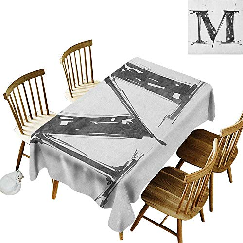 kangkaishi Anti-Wrinkle and Anti-Wrinkle Polyester Long Tablecloth for Weddings/banquets Alphabet Symbol in Sketchy Stencil Art Style Hand Drawn Effect Funky Calligraphy W60 x L126 Inch Black White