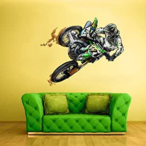 full color wall decal mural sticker decor art dirt bike moto motorcycle motocross. Black Bedroom Furniture Sets. Home Design Ideas