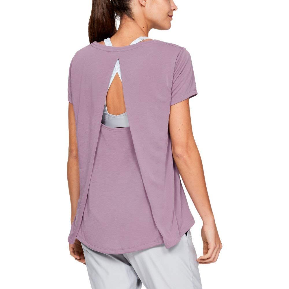 Under Armour Women's Whisperlight Short Sleeve Foldover Shirt, Purple Prime//Tonal, X-Small