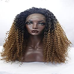 "Mix hair curly black root gold 20"" Afro Black Mixed Dark Blonde Hair Fluffy Curly Long Lace Front Wig Heat Resistant+Wig Cap Lace Front Wigs"