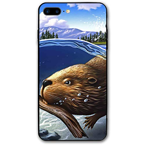 iPhone 7 Plus Case/iPhone 8 Plus Case Beaver Underwater Soft Rubber Cover Lightweight Slim Printed Protective Case