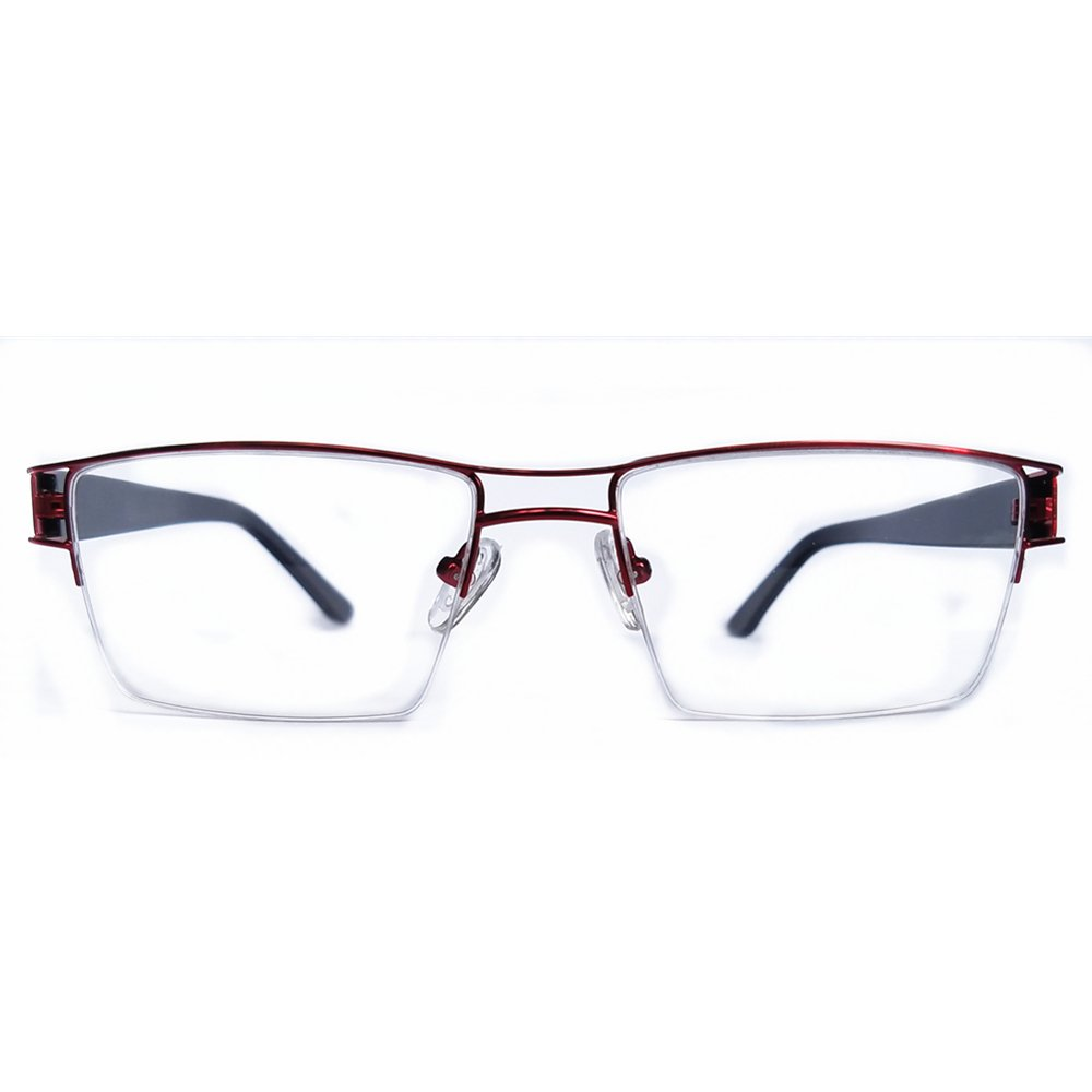df9a3d64e0 Amazon.com  Rectangle Unisex Half-rim Non-prescription eyewear frames  eyeglasses metal vintage eyeshape frames-S219 (Black)  Clothing