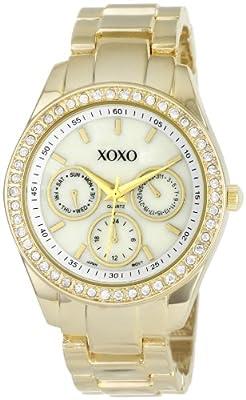 XOXO Women's XO5302A Rhinestone-Accented Gold-Tone Bracelet Watch
