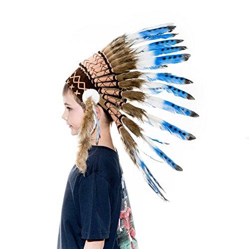 Indian War Bonnet Costume (Novum Crafts Kids Feather Headdress | Native American Indian Inspired | Blue Tips)