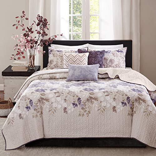 Zig Zag Plush - 6 Piece Beautiful Purple Blue Beige White Ivory King/ Cal King Coverlet Set, Floral Themed Bedding Modern Stylish Chic Pretty Elegant Trendy Watercolor Flower Plush Zig Zag, Polyester
