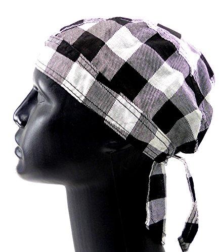 Kopftuch Kopftuecher Herren Damen Kopftuch weiss schwarz kariertBandanas Headscarf Bandannas für Kinder und Erwachsene (KaroWeiss) 4404