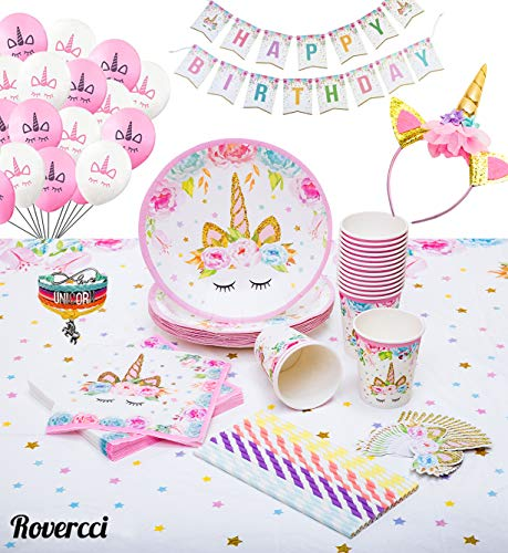 Birthday Balloons Table Cover - Unicorn Party Supplies Set & Tableware Kit | Birthday Decorations Bunting, Disposable Paper Plates, Cups, Napkins, Straws, Plastic Table Cloth, & BONUS Balloons, Bracelet, Head band - Serves 16