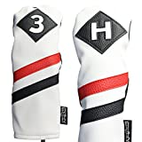 Majek Retro Golf Headcovers White Red and Black Vintage Leather Style 3 & H Fairway Wood and Hybrid Head Cover Classic Look