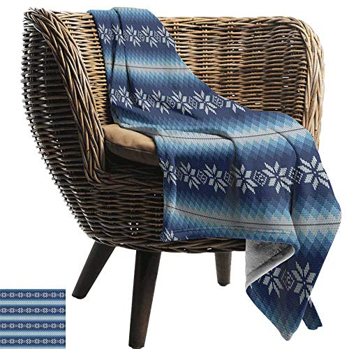 ZSUO Baby Blanket Yarn 70'x90' Inch Winter,Traditional Scandinavian Needlework Inspired Pattern Jacquard Flakes Knitting Theme Double-Sided Flannel Fleece Made with Plush Microfiber