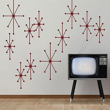 Atomic Starbursts Vinyl Wall Decals Mid Century Modern Wall Sticker Retro  Wall Mural Home Art Decoration
