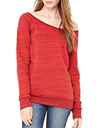 Women's Sponge Fleece Wideneck Boatneck Emoticon Pullover Sweatshirt