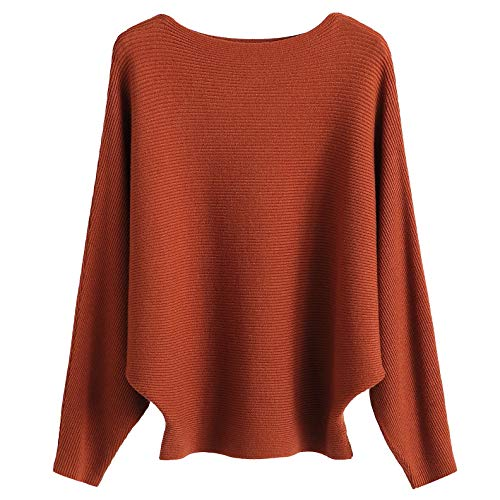 GABERLY Boat Neck Batwing Sleeves Dolman Knitted Sweaters and Pullovers Tops for Women (Caramel, One - Sweater Boatneck Womens
