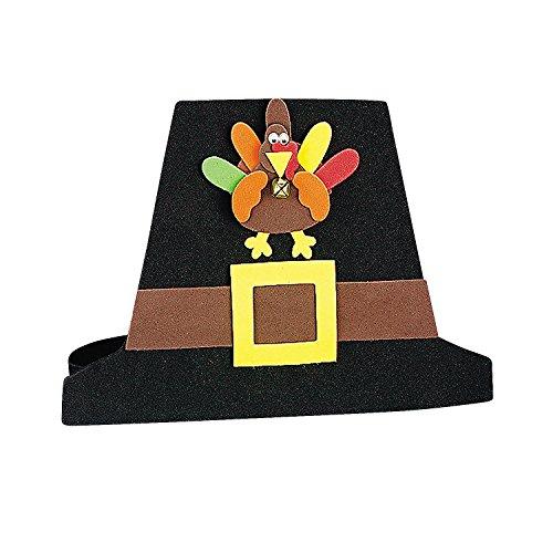 Fun Express - Pilgrim Hat Craft Kit for Thanksgiving - Craft Kits - Apparel Craft Kits - Hat & Mask - Thanksgiving - 12 Pieces