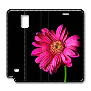 Brian114 Samsung Galaxy Note 4 Case, Note 4 Case - Protective Note 4 Leather Case Hot Pink Gerber Daisy Customized Pattern Samsung Galaxy Note 4 Leather Case
