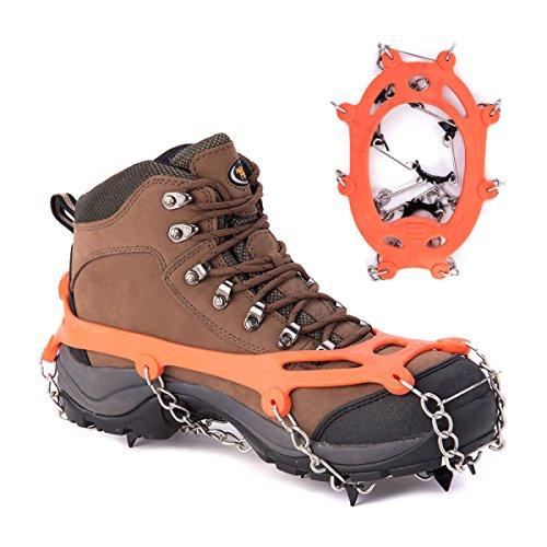 Griffe 8 Zähne Krallen Steigeisen Anti-Rutsch-Universal Stretch Schuhe Abdeckung Edelstahl Kette Outdoor Ski Eis Schnee Wandern Klettern (2 Stück)