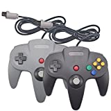 Joxde 2 Packs Upgraded Joystick Classic Wired Controllers for N64 Gamepad Console (Black and Gray)