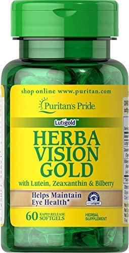 Puritan s Pride Herbavision Gold with Lutein, Bilberry and Zeaxanthin-60 Softgels