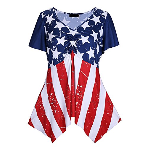 HoLeis Women's Plus Size American Flag T-shirts Multicoloured 3X