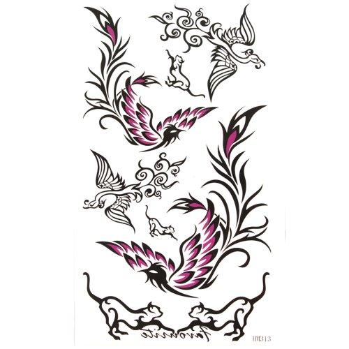 King Horse Black and Purple Phoenix Waterproof and sweat tattoo sticker