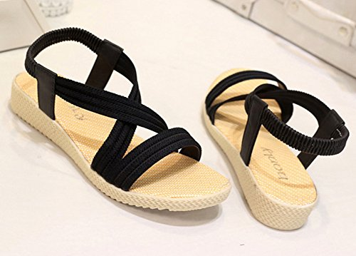 Minetom Damen Sommer Mode Einfarbig Sandalen Gladiator Sandals Flats Schuhe Strand Offene Sandalen Schwarz
