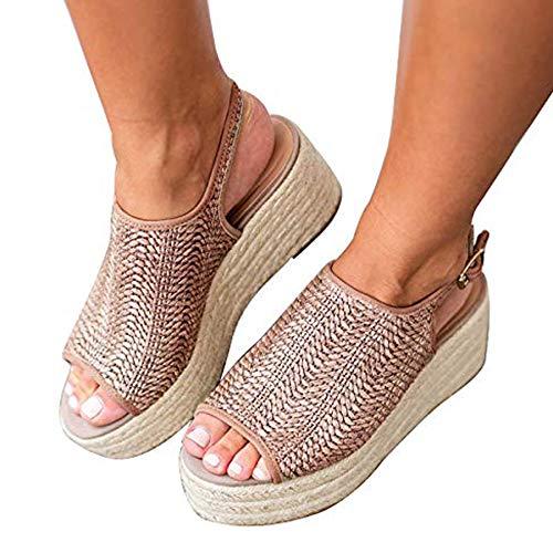 (Ru Sweet Women's Espadrille Wedge Sandals Braided Jute Ankle Buckle Platform Sandals)