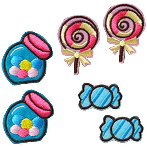 6 small pieces CANDY SWEETS LOLLY Children Iron On Patch Fabric Applique Motif Decal