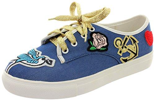 Zapatos de Mujer Cordones Dancing Vaquero para Sintético Days de Azul fq6FpA