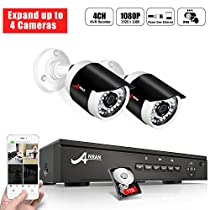 POE Video Security Camera System, ANRAN 4Ch 1080P POE NVR Recorder with 2 Surveillance Cameras, 1TB Hard Drive, Expand Up to 4 Cameras, Plug & Play, Night Vision, Motion Detection