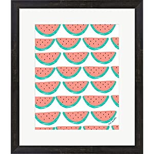 Great Art Now Watermelon Wallpaper by Katie Doucette Framed Art Print Wall Picture, Espresso Brown Frame, 20 x 23 inches