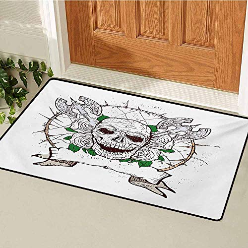 Skull Universal Door mat Skull Figure with Nose and Cross Axes Grunge Style Black Christmas Icon Scary Design Door mat Floor Decoration W19.7 x L31.5 Inch Multicolor]()