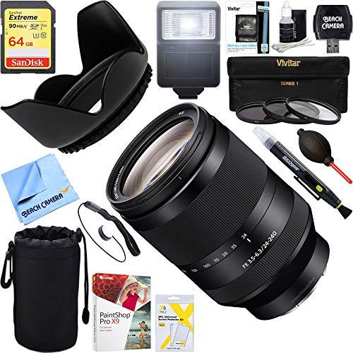 Sony (SEL24240 FE 24-240mm F3.5-6.3 OSS Full-Frame E-Mount Telephoto Zoom Lens + 64GB Ultimate Filter & Flash Photography ()
