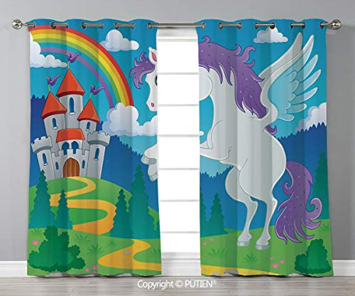 Grommet Blackout Window Curtains Drapes [ Kids Decor,Fantasy Myth Unicorn with Rainbow and Medieval Castle Fairy Tale Cartoon Design,Multicolor ] for Living Room Bedroom Dorm Room Classroom Kitchen Ca