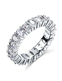 Exquisite Selebrity Oval Cut Eternity Solid Sterling 925 Silver Wedding Promise Engagement Ring