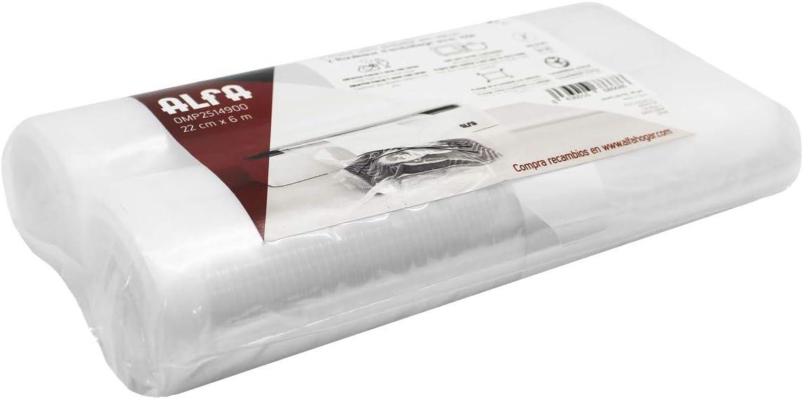 Alfa 0MP2514900 0002514900, Envasado Al Vacío Rollos, 22 cm x 6 m, Transparente, Plástico