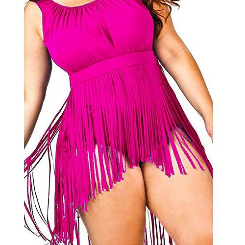 Yucode Plus Size Retro High Waist Braided Fringe Top Bikini Swimwear for Women Hot Pink