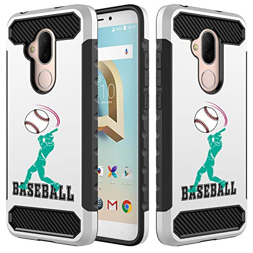 [Inkmodo] Alcatel 7, Alcatel 7 Folio, Tmobile Revvl 2 Plus Case - Unique Dual Layer Full Protection Shockproof Case (Plastic + TPU) - Baseball Player Design Printed with Embossed Effect