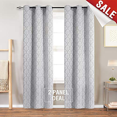 Light Filtering Curtains for Windows Jacquard Curtain Panels for Living Room 84 inch Length Opaque Leaf Pattern Privacy Bedroom Curtains Grey Grommet Top, 2 Panels (Jacquard Panel)