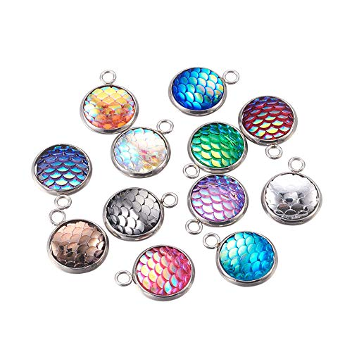 PH PandaHall 30pcs Mixed Color Flat Round with Mermaid Fish Scale Shaped Resin Pendants with 304 Stainless Steel Finding for Jewelry Making ()
