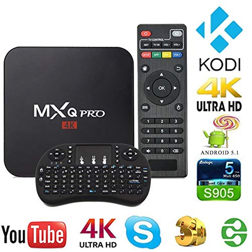 [2018 Version] Streaming Player MXQ Pro HDTV Box UHD 4K Android 6.0 64 Bit Amlogic S905X Quad Core with Mini Wireless Keyboard