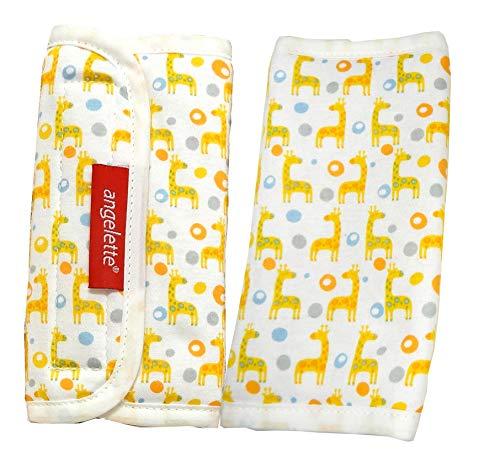 - 【angelette】Baby Carrier Reversible Sucking Pad/Car Seat Strap Covers/Stroller Belt Covers/Drool Pad/Teething Pad/Made in Japan(Giraffe)