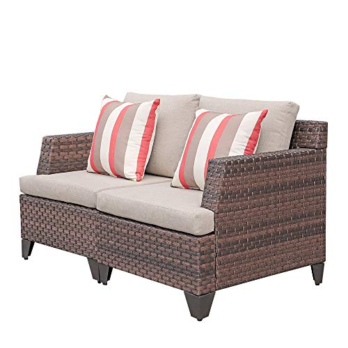SUNSITT All Weather Woven Wicker Loveseat Outdoor Furniture Sofa Seat 2, Beige Olefin Fabric Cushions & Brown Wicker, Throw Pillows Included