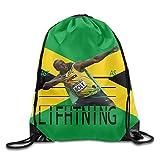 SHUIZHUYU Usain Bolt Fast As Lifhtning Drawstring Backpack Sack Bag
