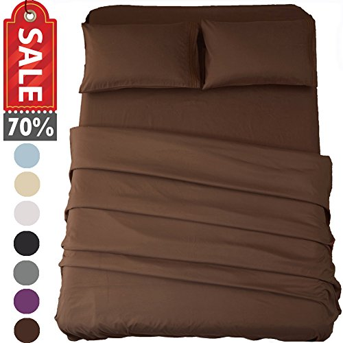 Sonoro Kate Bed Sheet Set Super Soft Microfiber 1800 Thread Count Luxury Egyptian Sheets 16-Inch Deep Pocket Wrinkle and Hypoallergenic-4 Piece(King Brown) - 2 Piece Stretch Wrap