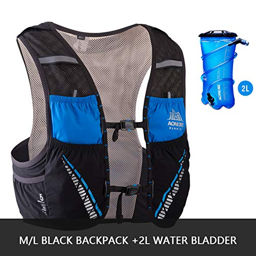 POJNGSN Hydration Pack Backpack Rucksack Bag Vest Harness Water Bladder Hiking Camping Running Race Climbing 5L ML Black 2L Bladder by POJNGSN (Image #1)