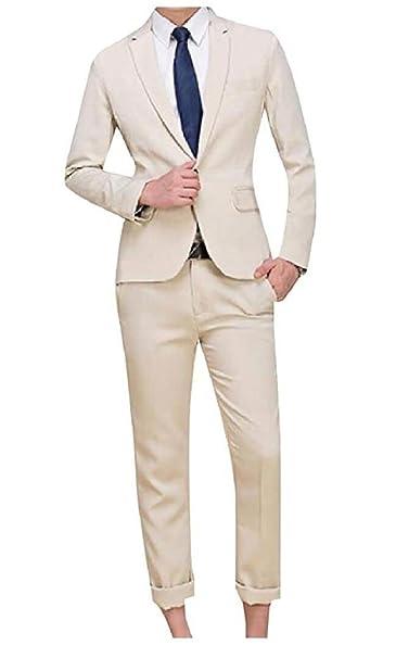 Amazon.com: Traje de boda para hombre, ajustado, color azul ...