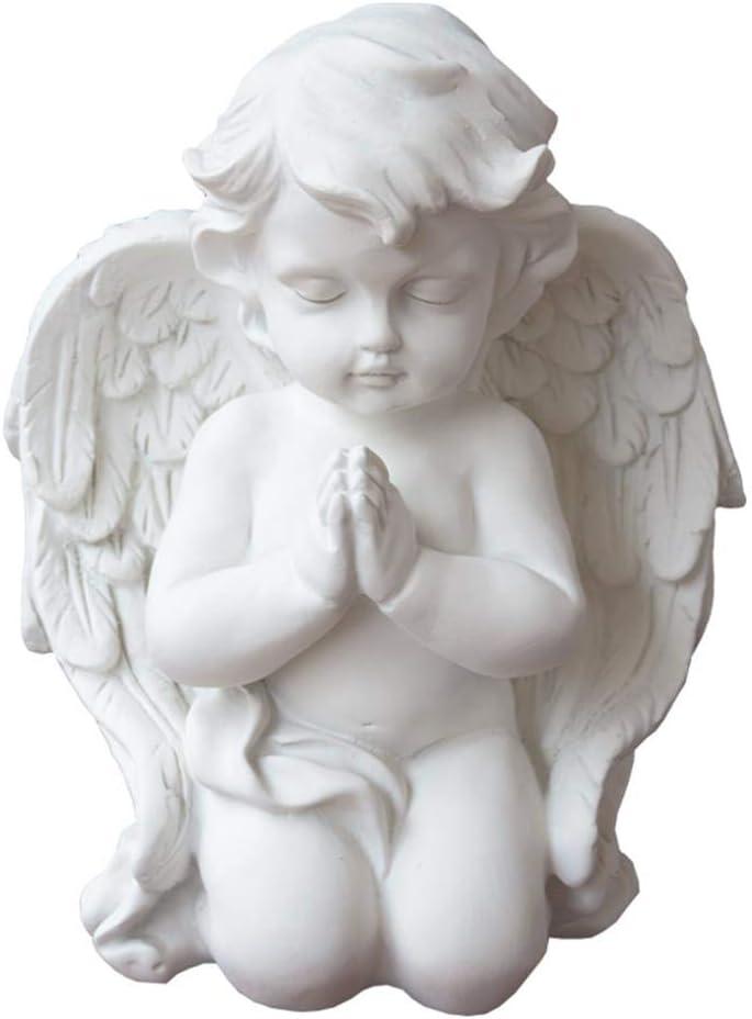 LIUSHI Praying Angel Statue,Kneeling Praying Cherub Sculpture Wings Baby Angel Figurine Indoor Outdoor Home Garden Decoration Memorial Statue