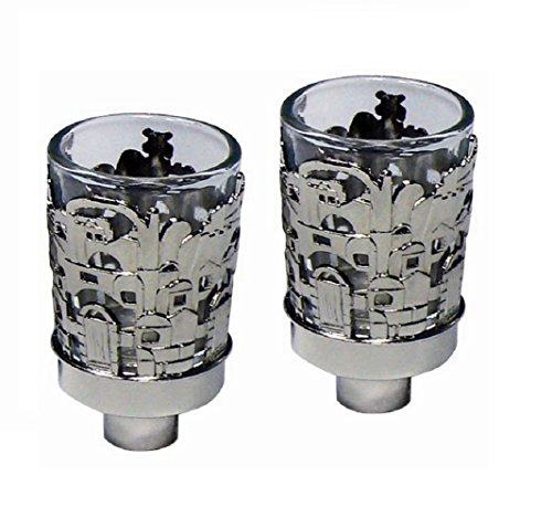 - 5th Avenue Collection Neronim Set of 2 Candle Holders Nickel Plated 3