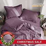 Dusty Purple Duvet Cover Simple&Opulence 100% Linen Pure Solid Color Embroidery Border Queen King Duvet Cover Set(Multi-Colored Options) (Queen, Purple)